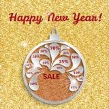 Шаблон продажи Нового Года для дизайна знамени или рогулек Шарики рождества с ценами со скидкой на золоте текстурировали предпосы Стоковые Фотографии RF