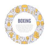 Шаблон плаката бокса Vector линия значки тренировки спорта, иллюстрация круга оборудования - punchbag, перчаток боксера иллюстрация вектора
