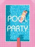 Шаблон плаката вечеринки у бассейна с сексуальной женщиной в загорать бикини ретро винтажная иллюстрация вектора стиля 80s Стоковые Изображения
