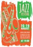 Шаблон плаката джазовой музыки Стоковые Фотографии RF
