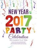 Шаблон плаката партии Нового Года 2017 Стоковые Изображения