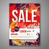 Шаблон плаката продажи вектора с краской акварели Стоковая Фотография