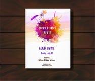 Шаблон плаката для партии лета иллюстрация штока