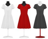 Шаблон платья женщин. иллюстрация штока