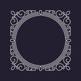 Шаблон рамки вензеля, флористический орнамент, круг и квадрат Стоковая Фотография