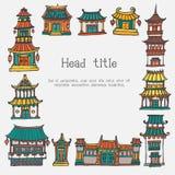 Шаблон рамки домов вектора красочный азиатский Стоковая Фотография
