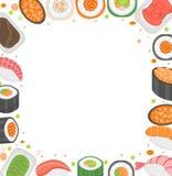 Шаблон рамки суш с космосом для текста Японская кухня на белой предпосылке Иллюстрация вектора, искусство зажима Стоковое Фото