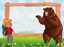 Шаблон рамки с hiker и медведем иллюстрация вектора