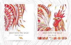 Шаблон рогульки с сделанным по образцу петухом бесплатная иллюстрация