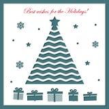 Шаблон рождественской открытки с вырезыванием лазера Стоковая Фотография RF