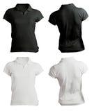 Шаблон рубашки поло женщин пустой черно-белый Стоковые Изображения RF