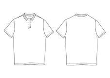 Шаблон рубашки поло Передние и задние взгляды Стоковая Фотография RF