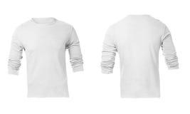 Шаблон рубашки людей пустой белый длинный Sleeved Стоковые Фото