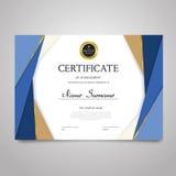 Шаблон сертификата - горизонтальный элегантный документ вектора иллюстрация штока