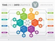 Шаблон сети для круга infographic, диаграммы или представления Бушель иллюстрация вектора