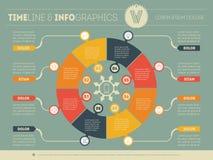 Шаблон сети для круговой диаграммы или представления Концепция с 8 Стоковая Фотография