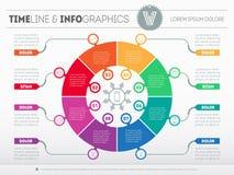 Шаблон сети для круговой диаграммы или представления Концепция с 8 Стоковые Фото