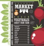Шаблон списка рыночной цены свежих овощей фермы Стоковые Изображения RF