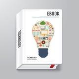 Шаблон стиля дизайна цифров обложки книги минимальный/может быть используемым f Стоковое Изображение