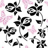 Шаблон с декоративными цветками и бабочками иллюстрация вектора