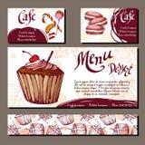 Шаблон с нарисованной рукой хлебопекарней эскиза Карточки десерта с сладостной хлебопекарней иллюстрация вектора