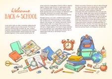 Шаблон с школьными принадлежностями для брошюр, папка, рогульки, знамена, листовка Стоковые Фото