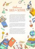 Шаблон с школьными принадлежностями для брошюр, папка, рогульки, знамена, листовка Стоковое Изображение RF