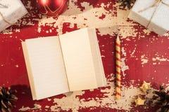 Шаблон тетради рождества концепции праздника ретро стоковые изображения rf