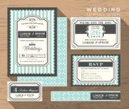 Шаблон установленного дизайна приглашения свадьбы Стоковые Изображения RF