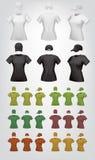 Шаблон футболки и крышки простых женщин иллюстрация вектора