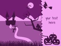 Шаблон хеллоуина для карточек, писем и сообщений иллюстрация штока