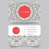 Шаблон, чернота, красный цвет и белизна визитной карточки Стоковая Фотография