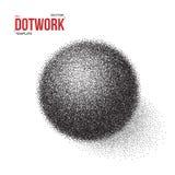 Шаблон шарика полутонового изображения 3D Шарик стиля 3D татуировки Dotwork Стоковые Фото