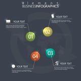Шаблон элементов шарика 3d современного дизайна infographic лоснистый на темной предпосылке Стоковое Изображение