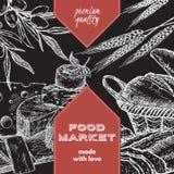 Шаблон ярлыка продовольственного рынка с хлебом и сыром бесплатная иллюстрация