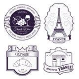 Шаблон ярлыка Франции страны установленный элемента эмблемы для ваших продукта или дизайна, сети и передвижных применений с текст Стоковая Фотография RF