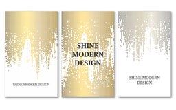 Шаблон для знамени, рогулек, сохраняет дату, день рождения или другое приглашение Дождь золота и серебра на белой предпосылке Стоковые Изображения
