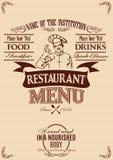 Шаблон для крышки меню с шеф-поваром иллюстрация вектора