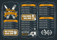 Шаблон для меню ресторана Стоковое Фото