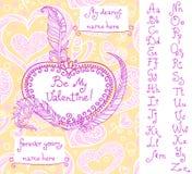Шаблон для поздравительной открытки ` s валентинки с рукописным алфавитом Стоковое Изображение