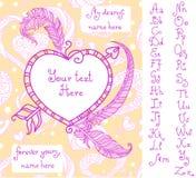 Шаблон для поздравительной открытки ` s валентинки с рукописным алфавитом Стоковое фото RF