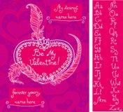 Шаблон для поздравительной открытки ` s валентинки Стоковое фото RF