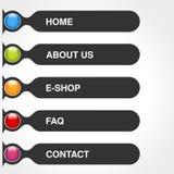Шаблон для пользы сети Прямоугольник меню застегивает с текстом дома, E-магазина, обслуживает, о нас, вопросы и ответы, контакт Т иллюстрация штока