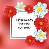 Шаблон для приветствовать, карточки карточки запаса приглашения Предпосылка и цветки запачканные конспектом розовые Тюльпан и nar Стоковые Изображения