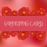 Шаблон для приветствовать, карточки карточки запаса приглашения Предпосылка и цветки запачканные конспектом розовые Тюльпан и nar Стоковые Изображения RF