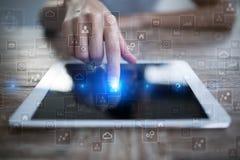 Шаблон для текста, предпосылки виртуального экрана Дело, концепция технологии Стоковые Изображения RF