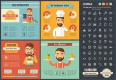 Шаблон Infographic дизайна еды плоский Стоковые Фотографии RF