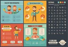 Шаблон Infographic дизайна здоровой еды плоский Стоковое Фото