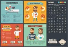 Шаблон Infographic дизайна медицины плоский Стоковое Изображение RF