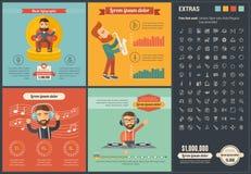 Шаблон Infographic дизайна музыки плоский Стоковые Фото